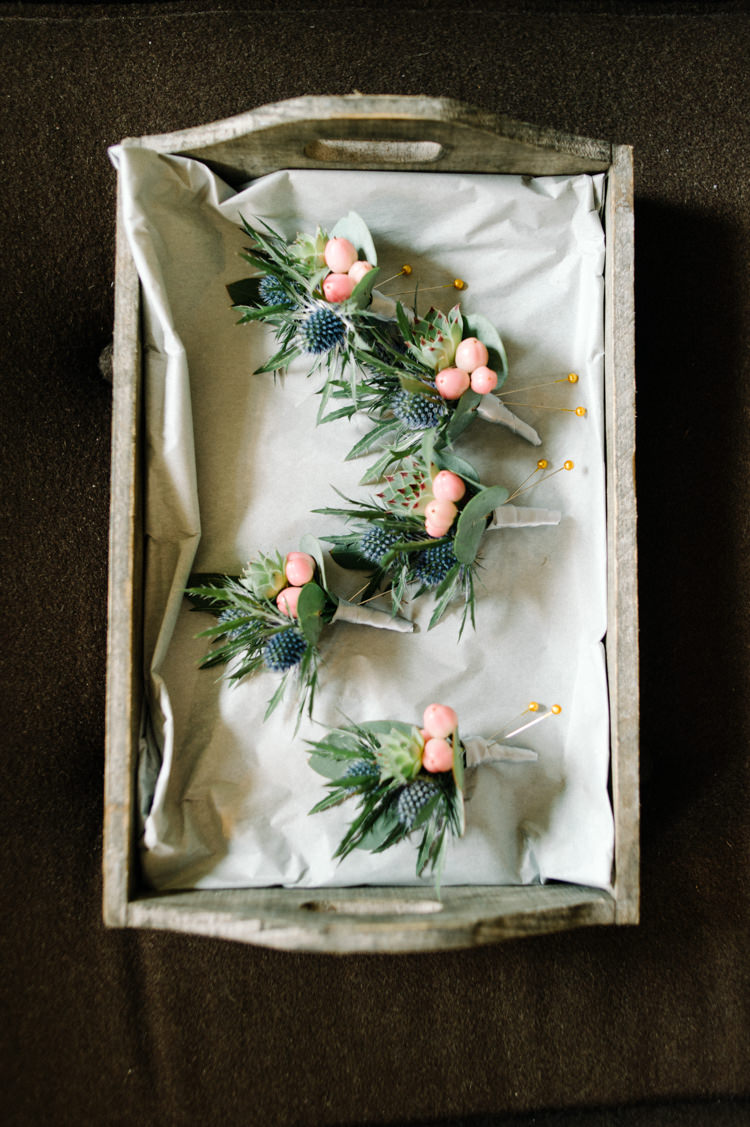 Buttonholes Berries Thistles Opulent Metallics City Library Wedding http://www.croandkowlove.com/