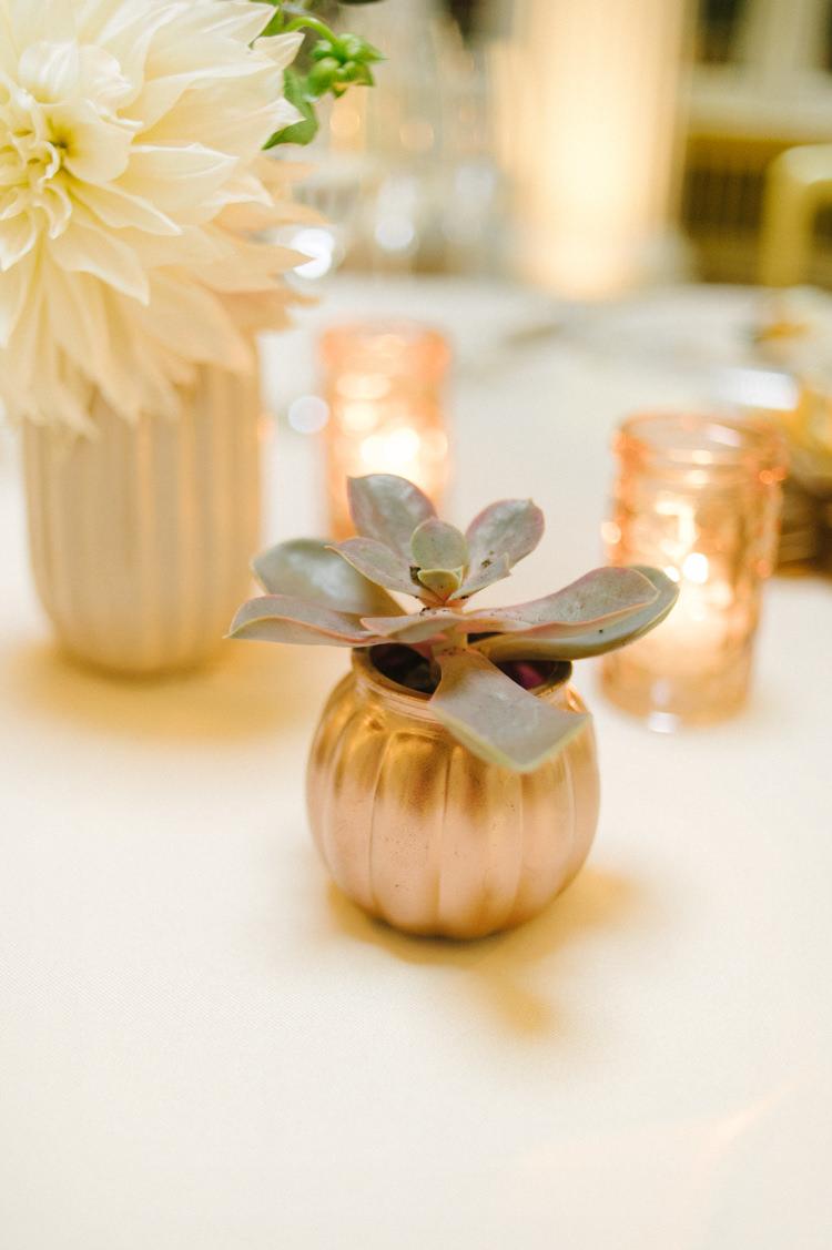 Votives Gold Candles Succulent Flowers Opulent Metallics City Library Wedding http://www.croandkowlove.com/