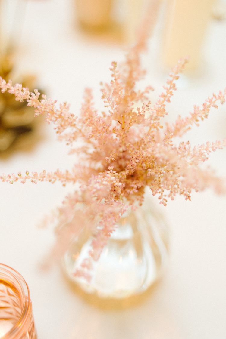 Votives Gold Candles Astilbe Flowers Opulent Metallics City Library Wedding http://www.croandkowlove.com/