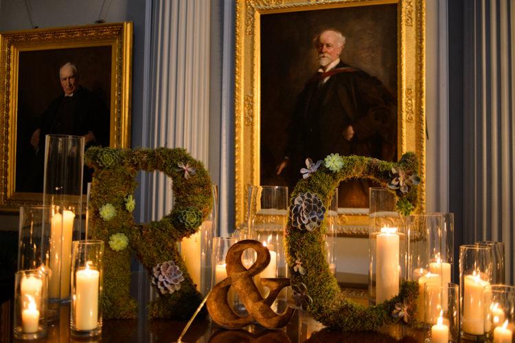 Moss Succulent Letters Candles Decor Opulent Metallics City Library Wedding http://www.croandkowlove.com/
