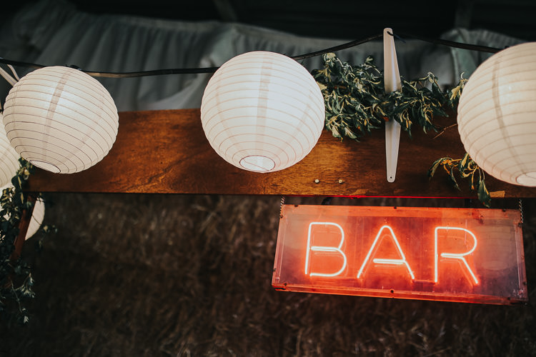 White Paper Lanterns Neon Bar Sign Barn DIY Farm Weekend Long Wedding http://www.nestalloyd.co.uk/