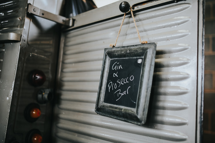 Chalk Sign Gin Prosecco Bar Classic Citroen Van Vintage DIY Farm Weekend Long Wedding http://www.nestalloyd.co.uk/