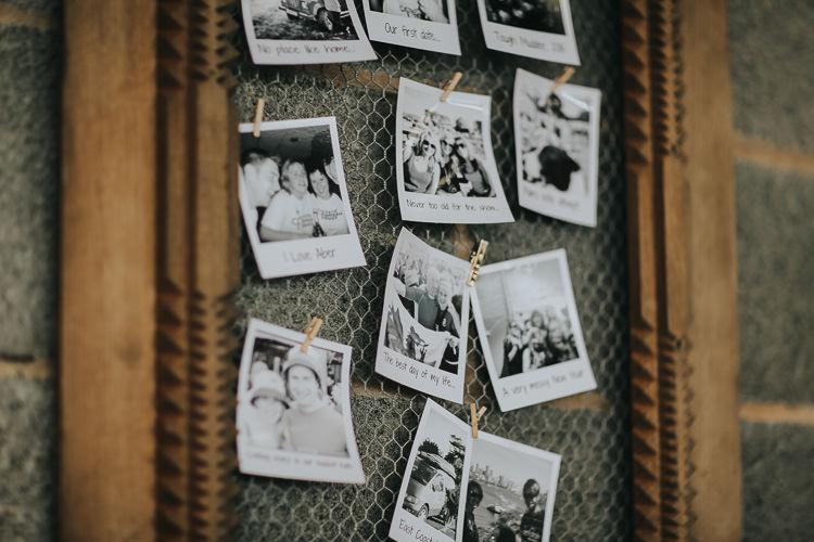 Polaroids Black White Chicken Wire Wooden Frame Photograph Display DIY Farm Weekend Long Wedding http://www.nestalloyd.co.uk/