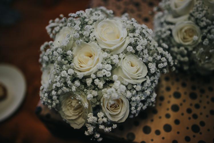 Bride Bridal Bouquet White Roses Gypsophila DIY Farm Weekend Long Wedding http://www.nestalloyd.co.uk/