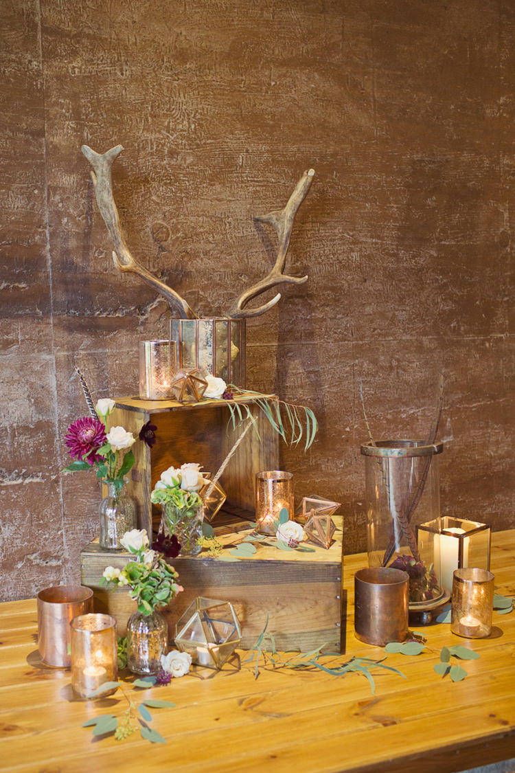 Decor Crates Candles Flowers Rustic Antler Feather Stunning Countryside Wedding http://www.cottoncandyweddings.co.uk/