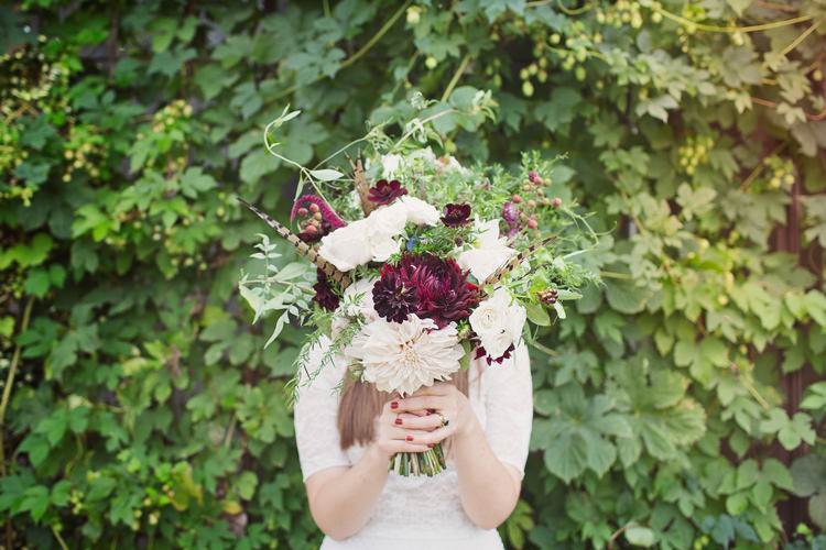 Red Burgundy Dahlia Blush Bouquet Flowers Bride Bridal Foliage Rose Antler Feather Stunning Countryside Wedding http://www.cottoncandyweddings.co.uk/
