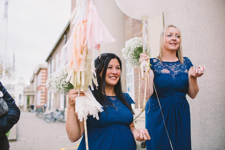 Blue Lace Bridesmaid Dresses Tassel Balloons Fun-Loving Low Key Pub Wedding https://www.oliviajudah.co.uk/