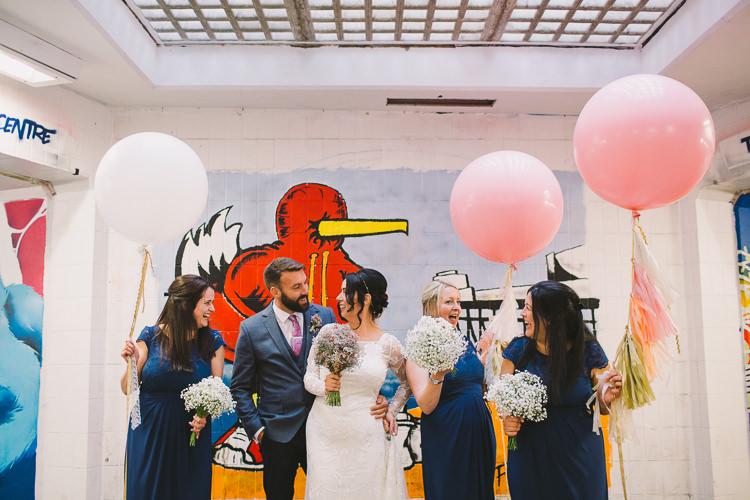 Navy Blue Lace Bridesmaid Dresses Tassel Ballons Fun-Loving Low Key Pub Wedding https://www.oliviajudah.co.uk/