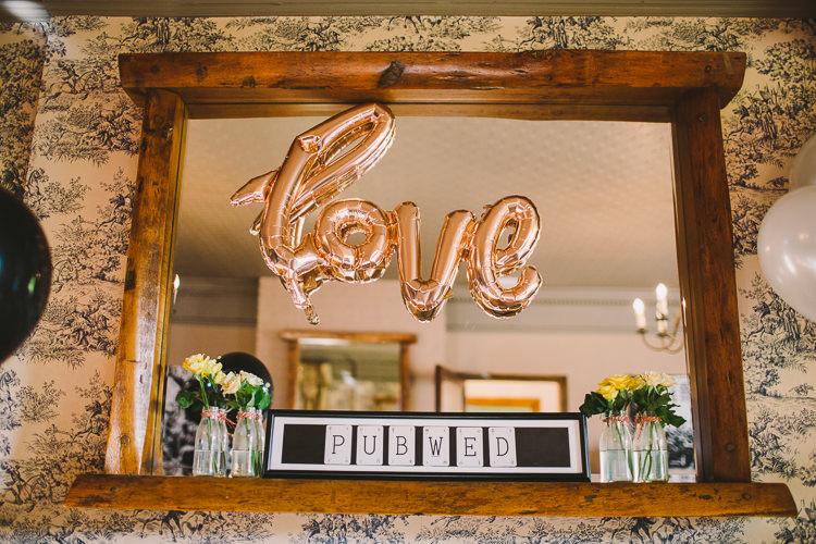 LOVE Balloon Decor Fun-Loving Low Key Pub Wedding https://www.oliviajudah.co.uk/