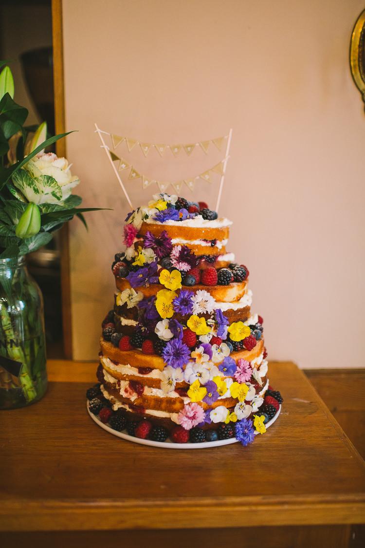 Naked Cake Sponge Layer Fruit Flowers Fun-Loving Low Key Pub Wedding https://www.oliviajudah.co.uk/