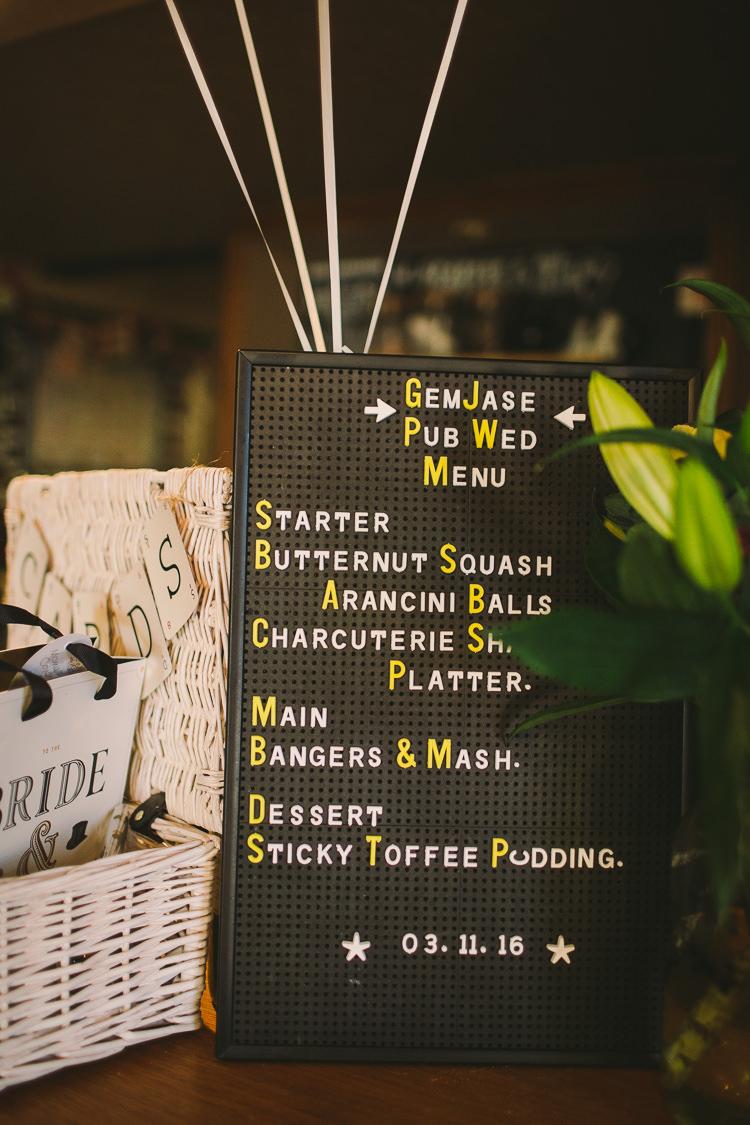 Peg Board Sign Black White Yellow Fun-Loving Low Key Pub Wedding https://www.oliviajudah.co.uk/