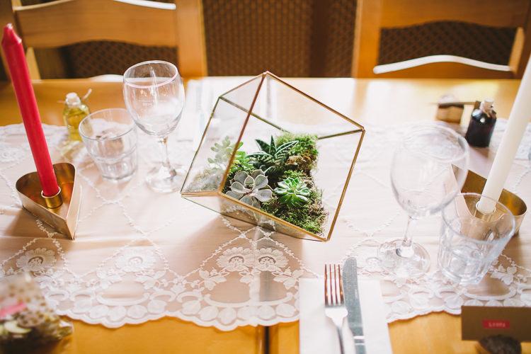 Terranium Succulent Moss Centrepiece Decor Lace Table Fun-Loving Low Key Pub Wedding https://www.oliviajudah.co.uk/