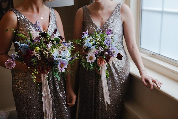 Bridesmaids Bouquets Colourful Ribbons Flowers Sparkle Old Hollywood Glamour Wedding https://www.jonnybarratt.com/