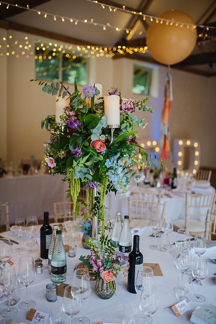 Centrepiece Flowers Candelabra Colourful Sparkle Old Hollywood Glamour Wedding https://www.jonnybarratt.com/