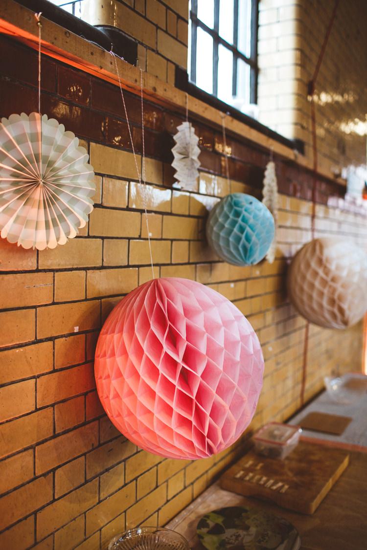Paper Honeycomb Pinwheel Industrial Cool Museum Wedding https://photography34.co.uk/
