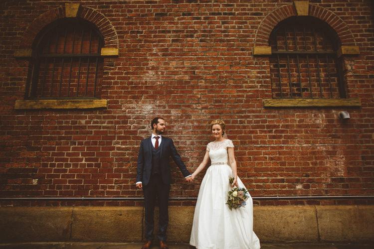 Bride Bridal Tara Keeley A Line Sleeves Dress Beaded Belt Lace Groom Industrial Cool Museum Wedding https://photography34.co.uk/