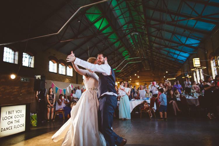 First Dance DIY Lightbox Sign Dance Floor Industrial Cool Museum Wedding https://photography34.co.uk/
