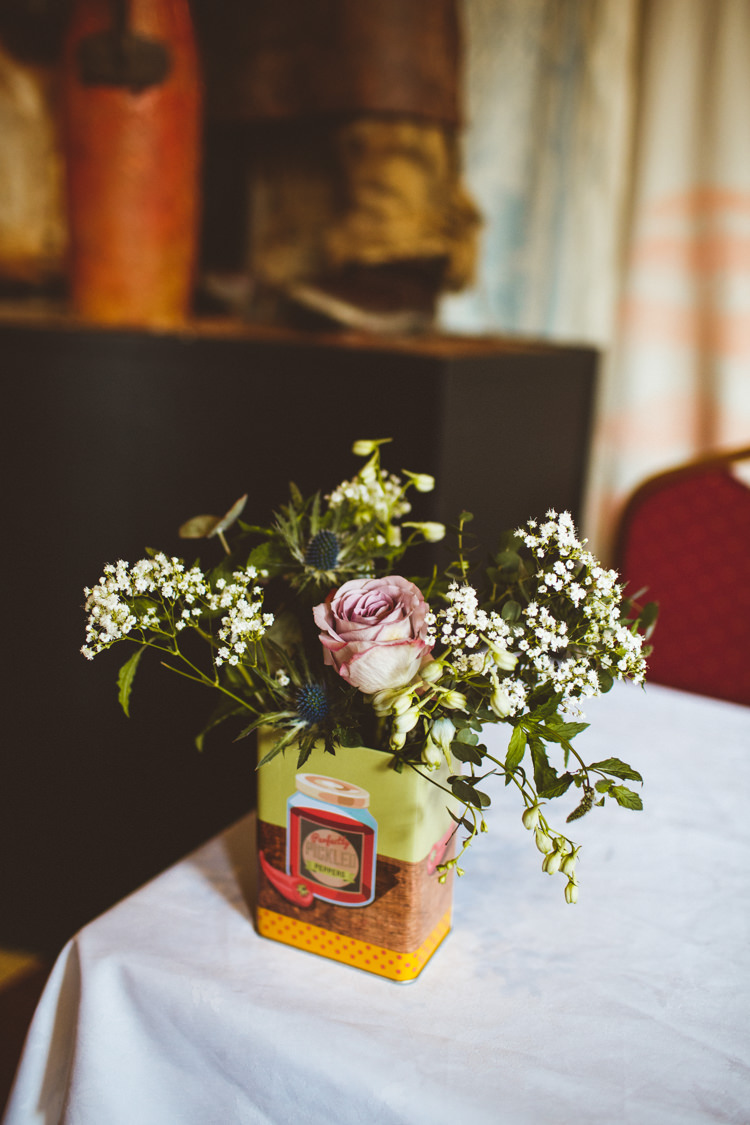 Vintage Tin Rose Gypsophila Greenery Industrial Cool Museum Wedding https://photography34.co.uk/