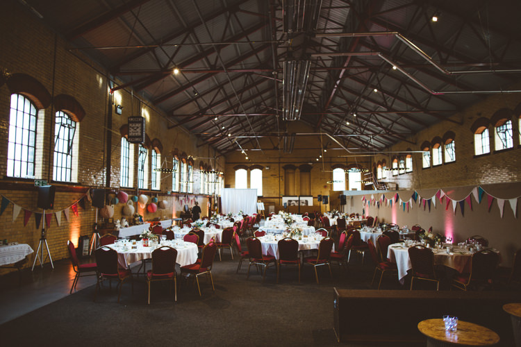 Kelham Island Museum Warehouse Bunting Exposed Brick Industrial Cool Museum Wedding https://photography34.co.uk/