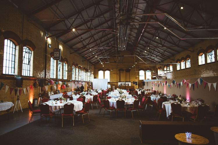 Kelham Island Museum Warehouse Bunting Exposed Brick Industrial Cool Museum Wedding https://photography34.co.uk/