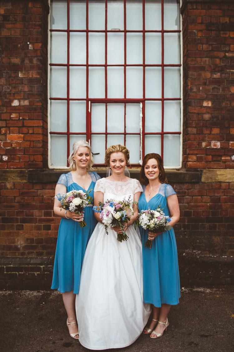 Bride Bridal Tara Keeley Dress ASOS Bridesmaids Blue Pastel Bouquets Industrial Cool Museum Wedding https://photography34.co.uk/