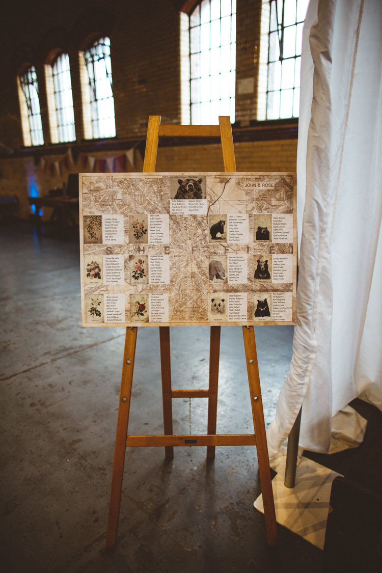 Table Plan Seating Chart Map Easel Vintage Black and White Industrial Cool Museum Wedding https://photography34.co.uk/