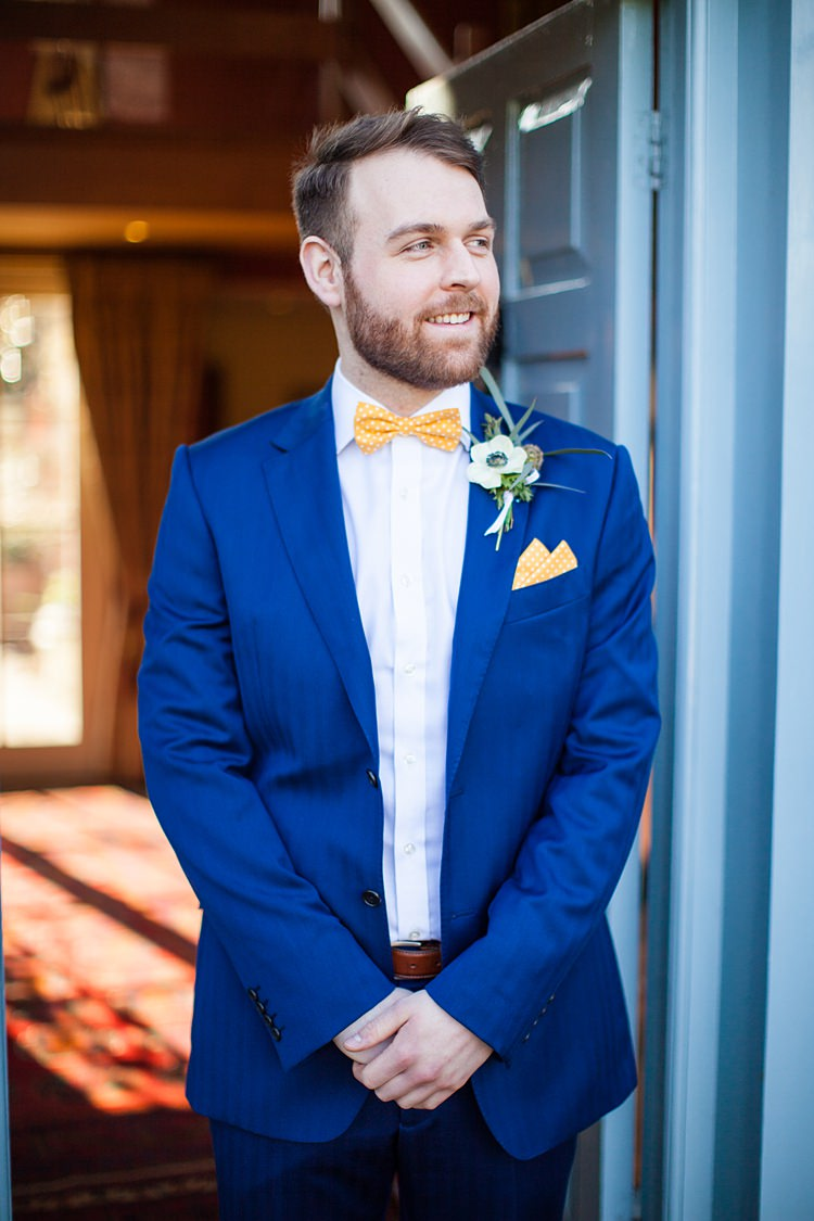 Blue Suit Groom Yellow Bow Tie Style Attire Outfit Fun Spring Floral Creative Wedding https://www.binkynixon.com/