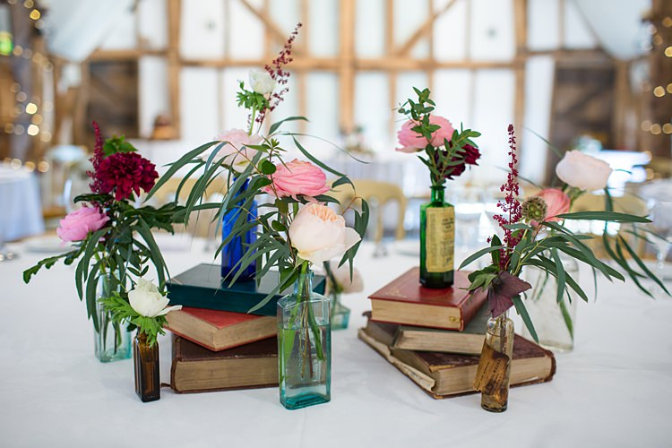 Vintage Books Bottle Flowers Centrepiece Decor Tables Fun Spring Floral Creative Wedding https://www.binkynixon.com/