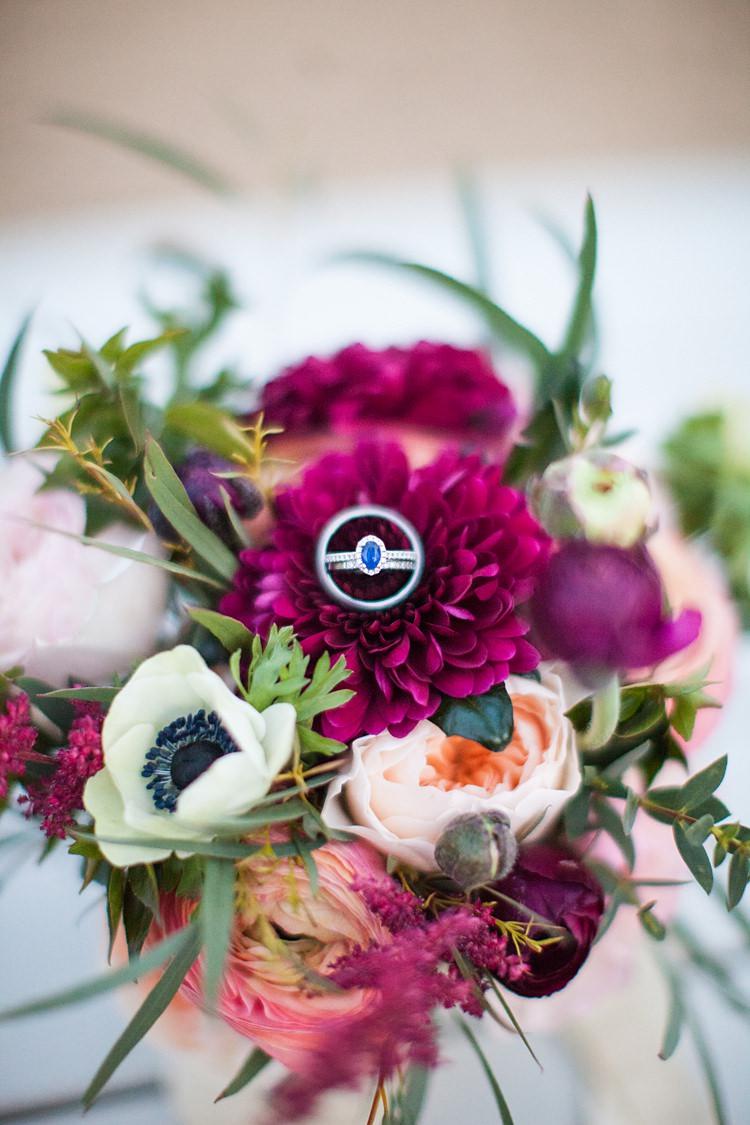 Sapphire Halo Engagement Ring Bride Bridal Fun Spring Floral Creative Wedding https://www.binkynixon.com/