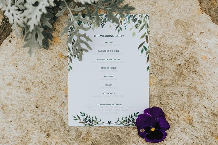Stationery Order of Service Paper Goods Modern Spring Botanic Garden Wedding Texas http://velvetsagephotography.com/