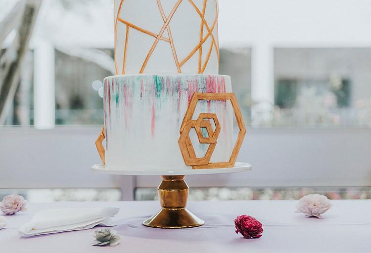 Cake Table Stand Geometric Gold White Multicolour Modern Spring Botanic Garden Wedding Texas http://velvetsagephotography.com/