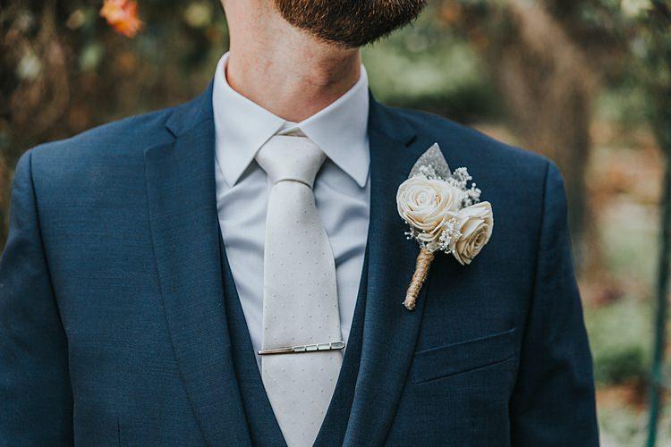 Three Piece Suit Groom Buttonhole Paper Flower Fake Modern Spring Botanic Garden Wedding Texas http://velvetsagephotography.com/