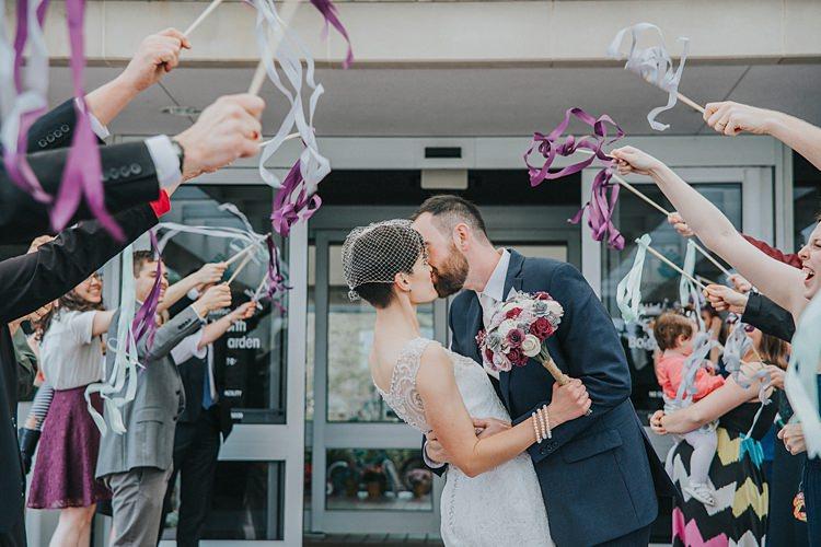 Bride Bridal Dress Gown Birdcage Veil Groom Ribbon Wand Confetti Alternative Modern Spring Botanic Garden Wedding Texas http://velvetsagephotography.com/