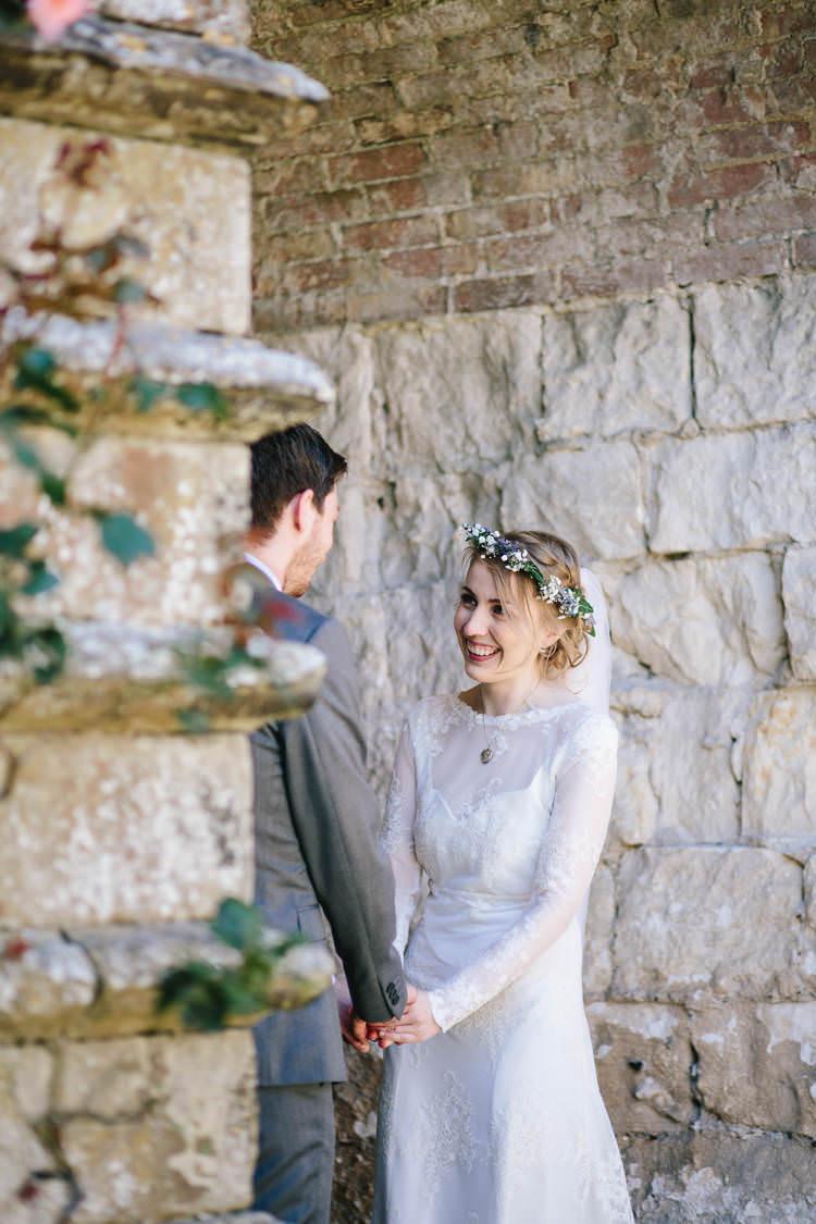 Long Sleeved Bride Bridal Dress Flower Crown Veil Pretty Picturesque Outdoor Castle Wedding https://parkershots.com/