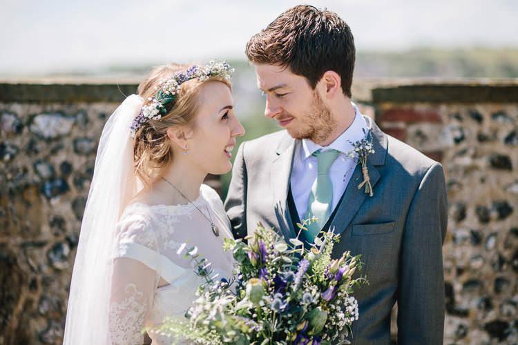 Bride Bridal Bouquet Flower Crown Veil Thistle Eucalyptus Lavender Gypsophila Purple White Ted Baker Groom Sage Tie Pretty Picturesque Outdoor Castle Wedding https://parkershots.com/