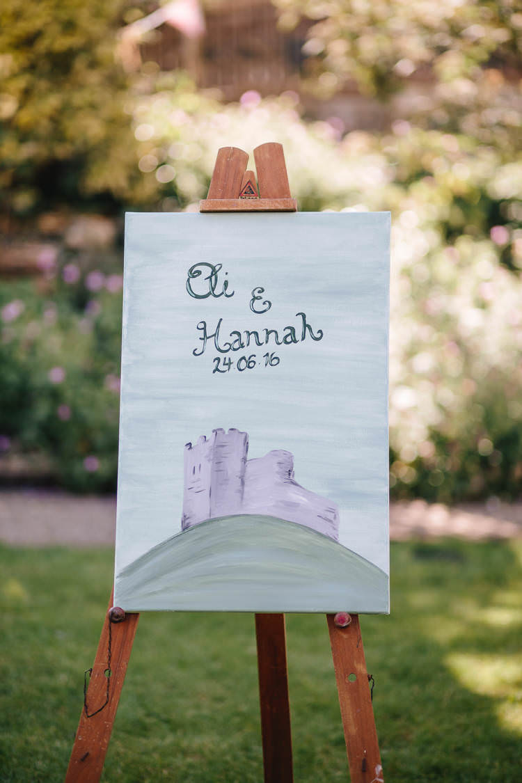 Welcome Sign Easel Watercolour Pretty Picturesque Outdoor Castle Wedding https://parkershots.com/