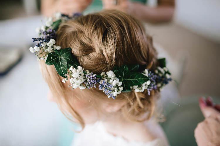 Bride Bridal Flower Crown Ivy Gypsophila Lavender Pretty Picturesque Outdoor Castle Wedding https://parkershots.com/
