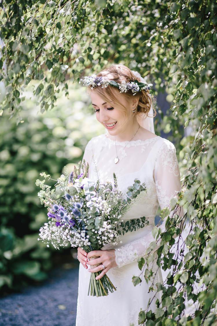 Bride Bridal Bouquet Flower Crown Thistle Eucalyptus Lavender Gypsophila Purple White Pretty Picturesque Outdoor Castle Wedding https://parkershots.com/