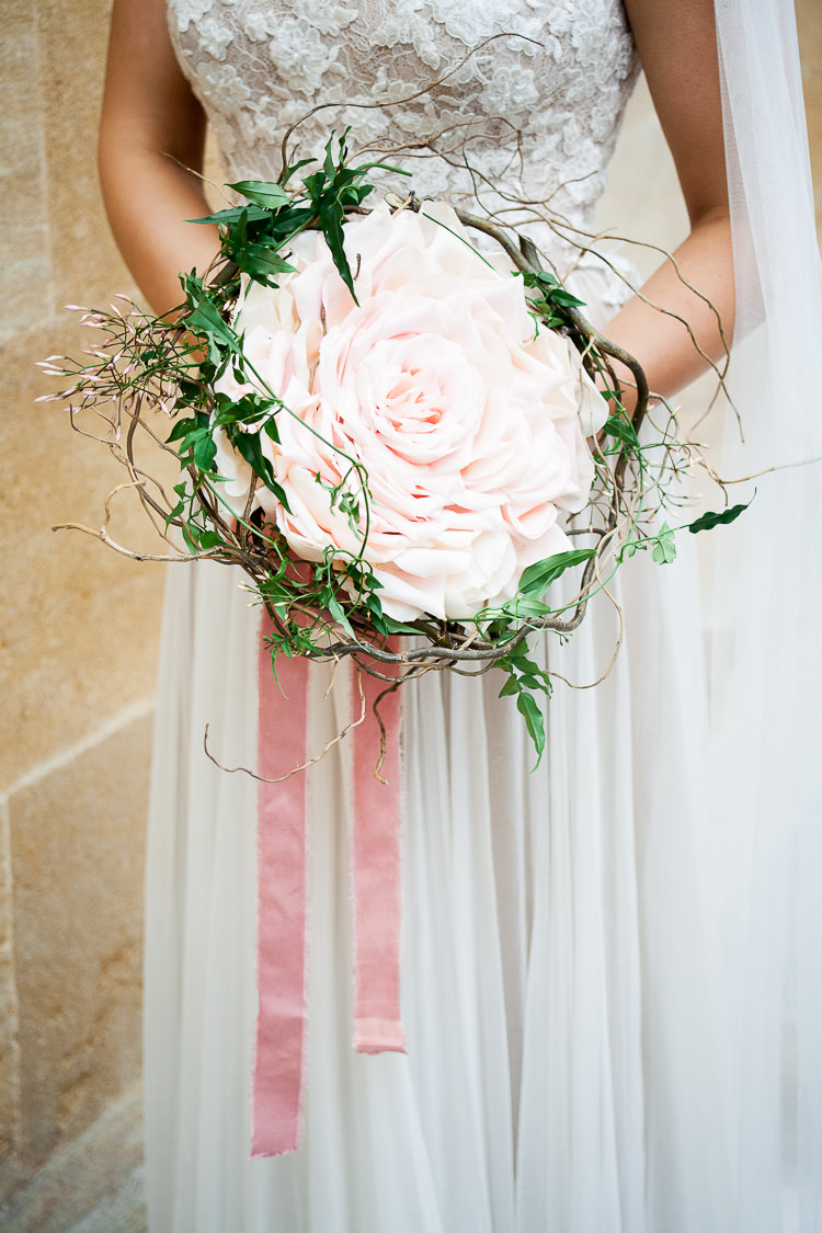 Modern Rose Bouquet Pink Ribbon Ethereal Soft Fine Art Wedding Ideas http://lizbakerphotography.co.uk/