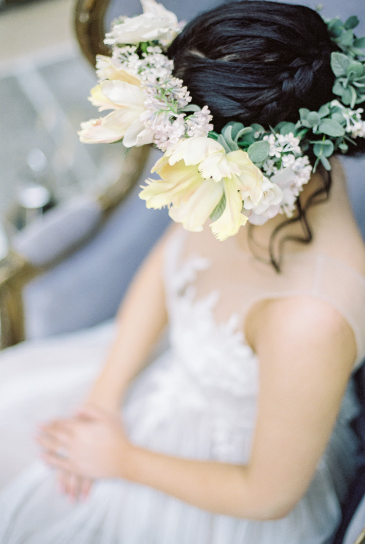 Flower Crown Bride Bridal Yellow Greenery Foliage Hair Ethereal Soft Fine Art Wedding Ideas http://lizbakerphotography.co.uk/