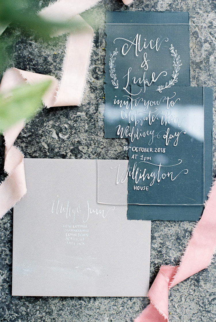 Perspex Stationery Calligraphy Invitations Ribbon Silk Ethereal Soft Fine Art Wedding Ideas http://lizbakerphotography.co.uk/