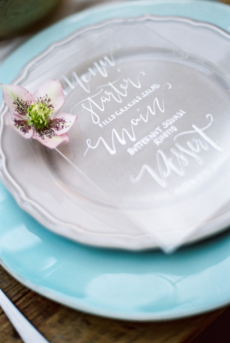Perspex Stationery Place Setting Flower Plate Ethereal Soft Fine Art Wedding Ideas http://lizbakerphotography.co.uk/