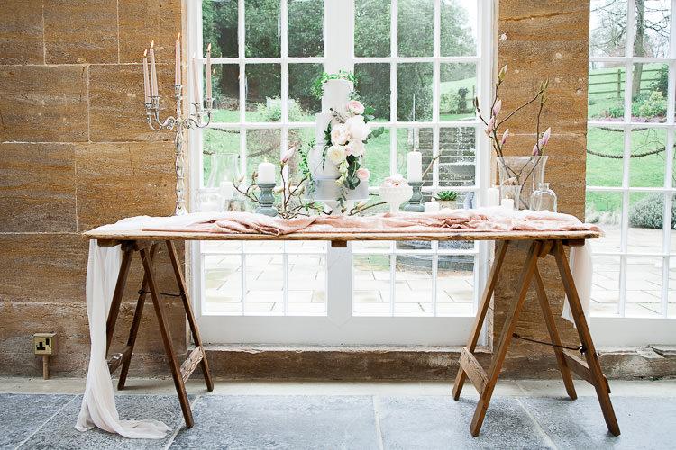 Cake Table Rustic Trestle Ethereal Soft Fine Art Wedding Ideas http://lizbakerphotography.co.uk/