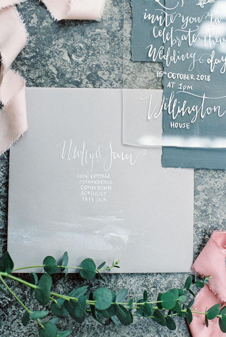 Calligraphy Perspex Stationery Envelope Ethereal Soft Fine Art Wedding Ideas http://lizbakerphotography.co.uk/