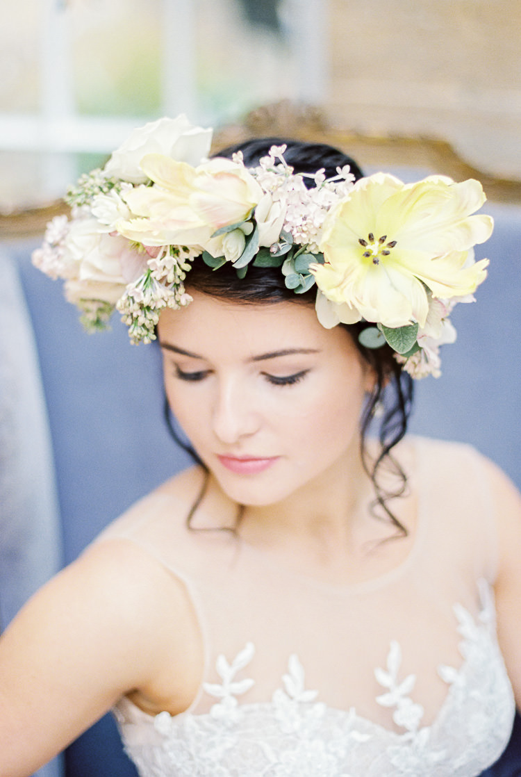 Flower Crown Bride Bridal Large Yellow Blush Pastel Ethereal Soft Fine Art Wedding Ideas http://lizbakerphotography.co.uk/