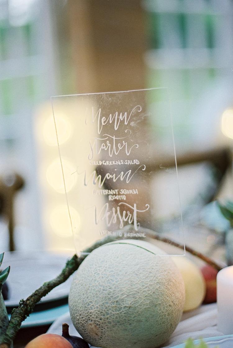 Perspex Menu Stationery Ethereal Soft Fine Art Wedding Ideas http://lizbakerphotography.co.uk/