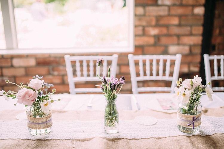 Hessian Lace Jar Flowers Decor Beautiful Lilac Garden Wedding New Zealand http://www.levienphotography.com/