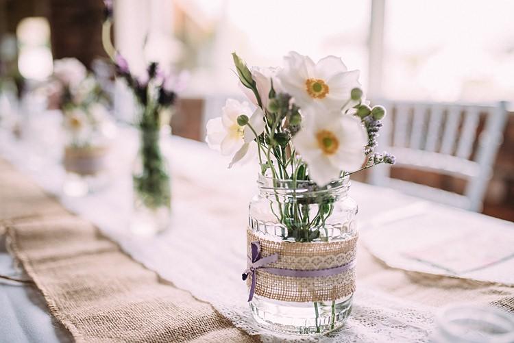 Hessian Lace Jar Flowers Beautiful Lilac Garden Wedding New Zealand http://www.levienphotography.com/
