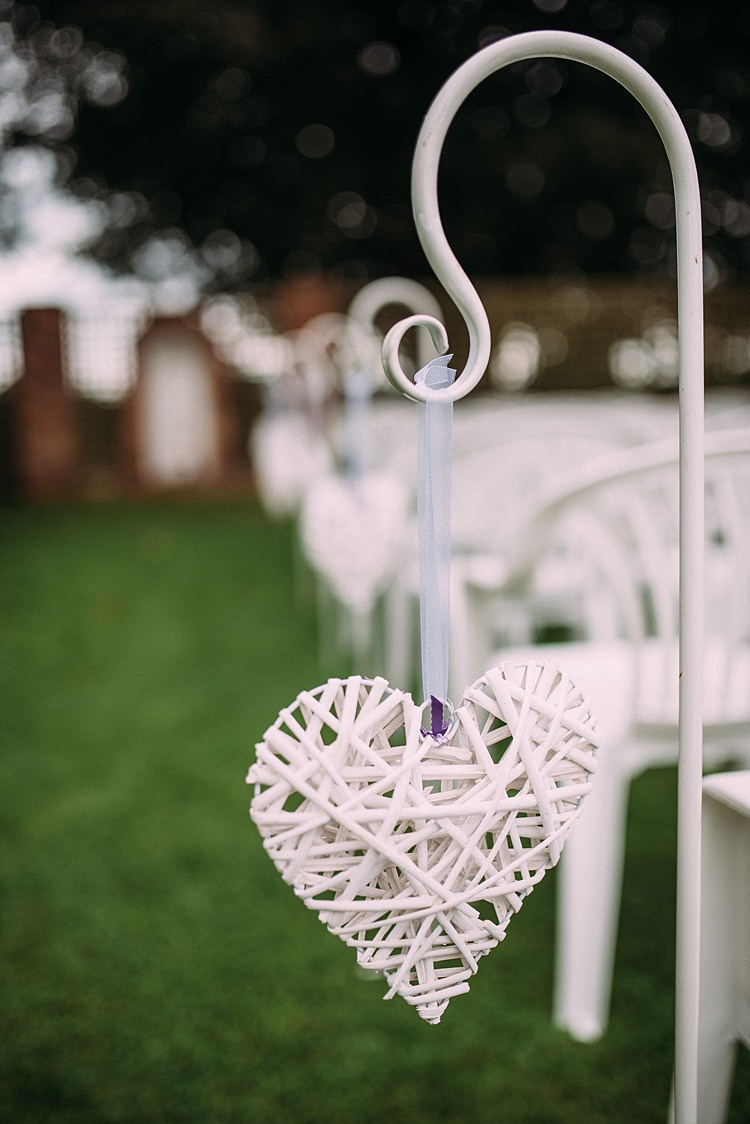 Wicker Heart Pew End Aisle Beautiful Lilac Garden Wedding New Zealand http://www.levienphotography.com/