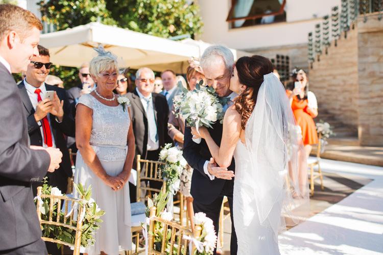 Bride Bridal Pronovias Gown Dress Veil Bouquet White Rose Gypsophila Greenery Elegant Stylish Sorrento Destination Wedding http://www.francessales.co.uk/